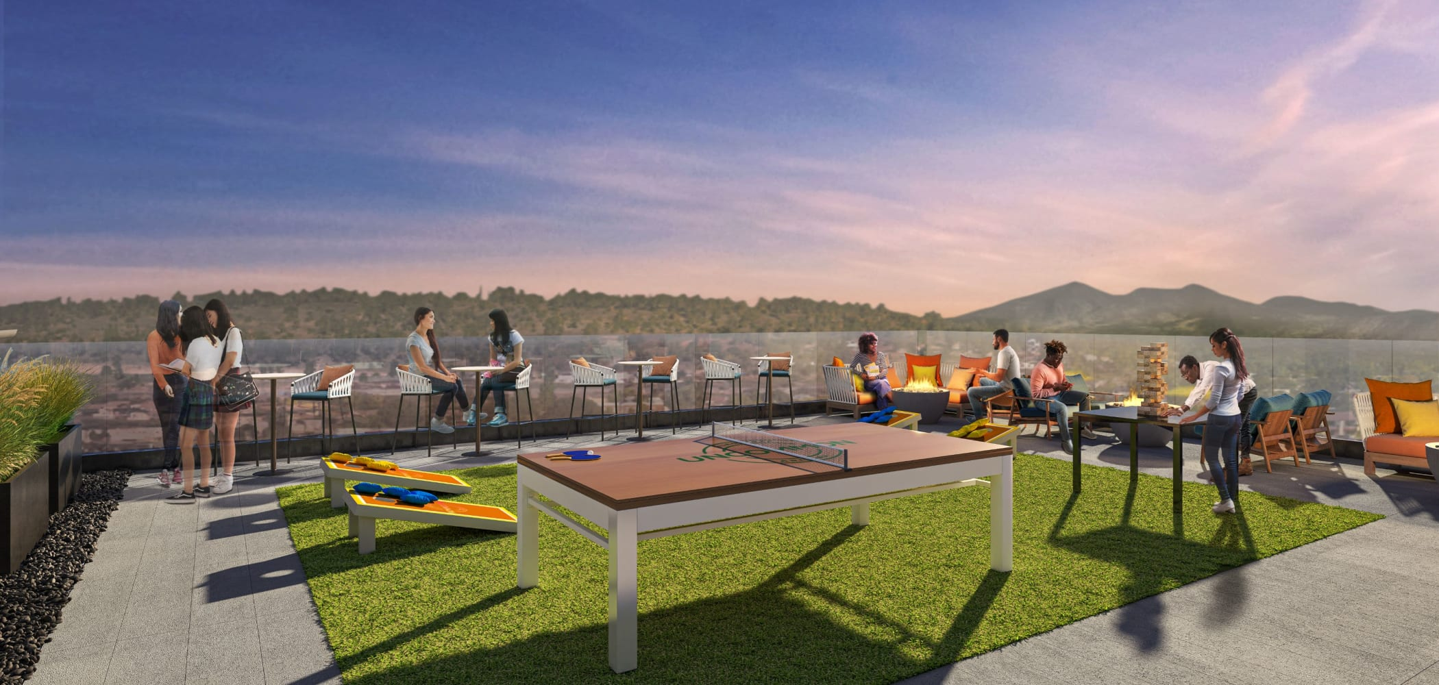 Outdoor recreation area with ping pong at UNCOMMON Flagstaff in Flagstaff, Arizona