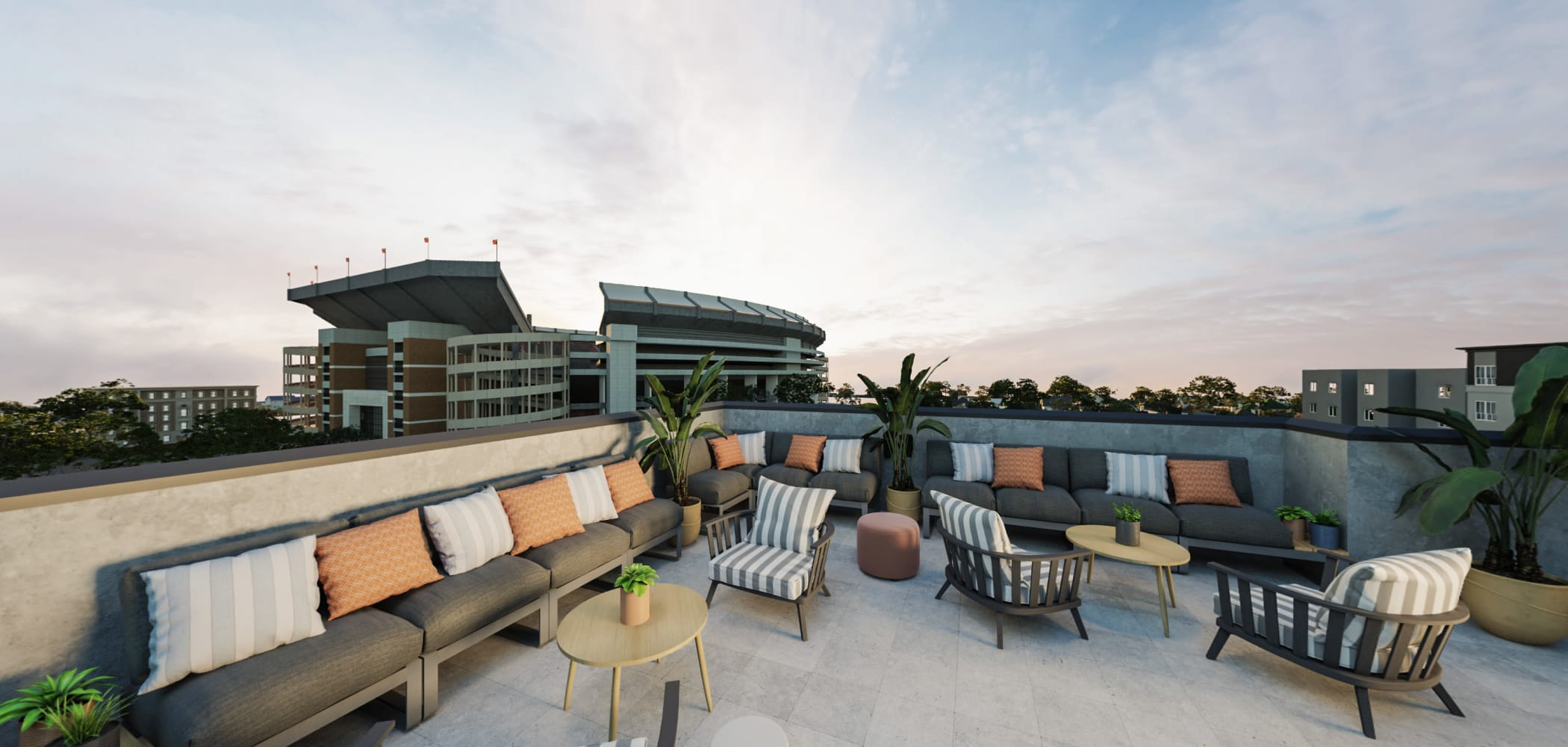 Rooftop lounge with comfy couches at HERE Tuscaloosa in Tuscaloosa, Alabama
