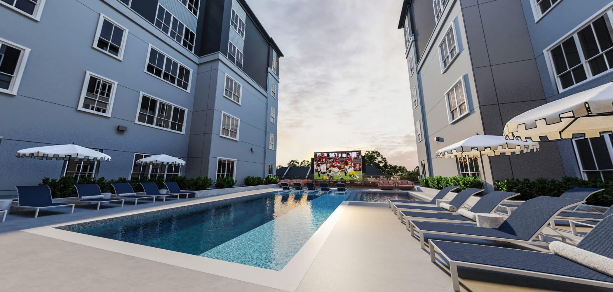 Resort-style swimming pool at HERE Tuscaloosa in Tuscaloosa, Alabama near University of Alabama