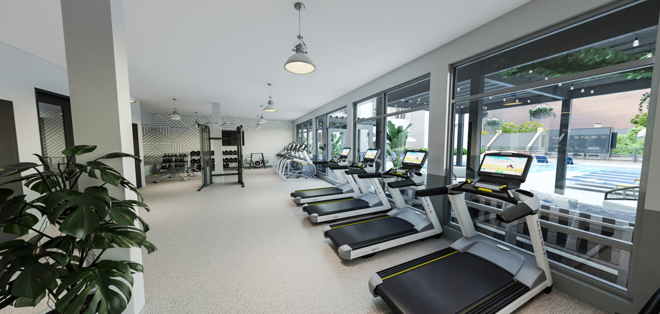 Fully equipped fitness center at HERE Tuscaloosa in Tuscaloosa, Alabama