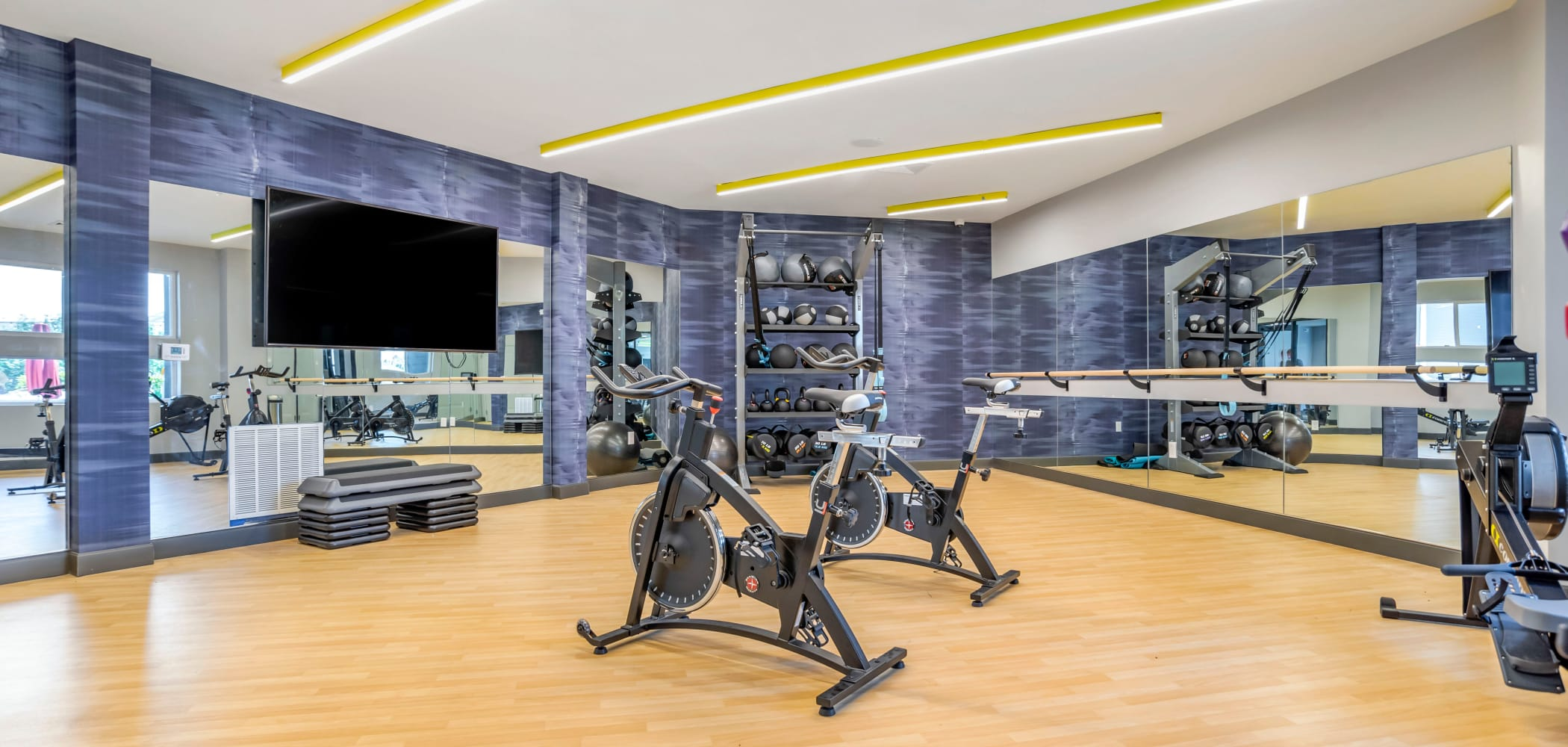 Fully equipped fitness center at UNCOMMON Tuscaloosa in Tuscaloosa, Alabama