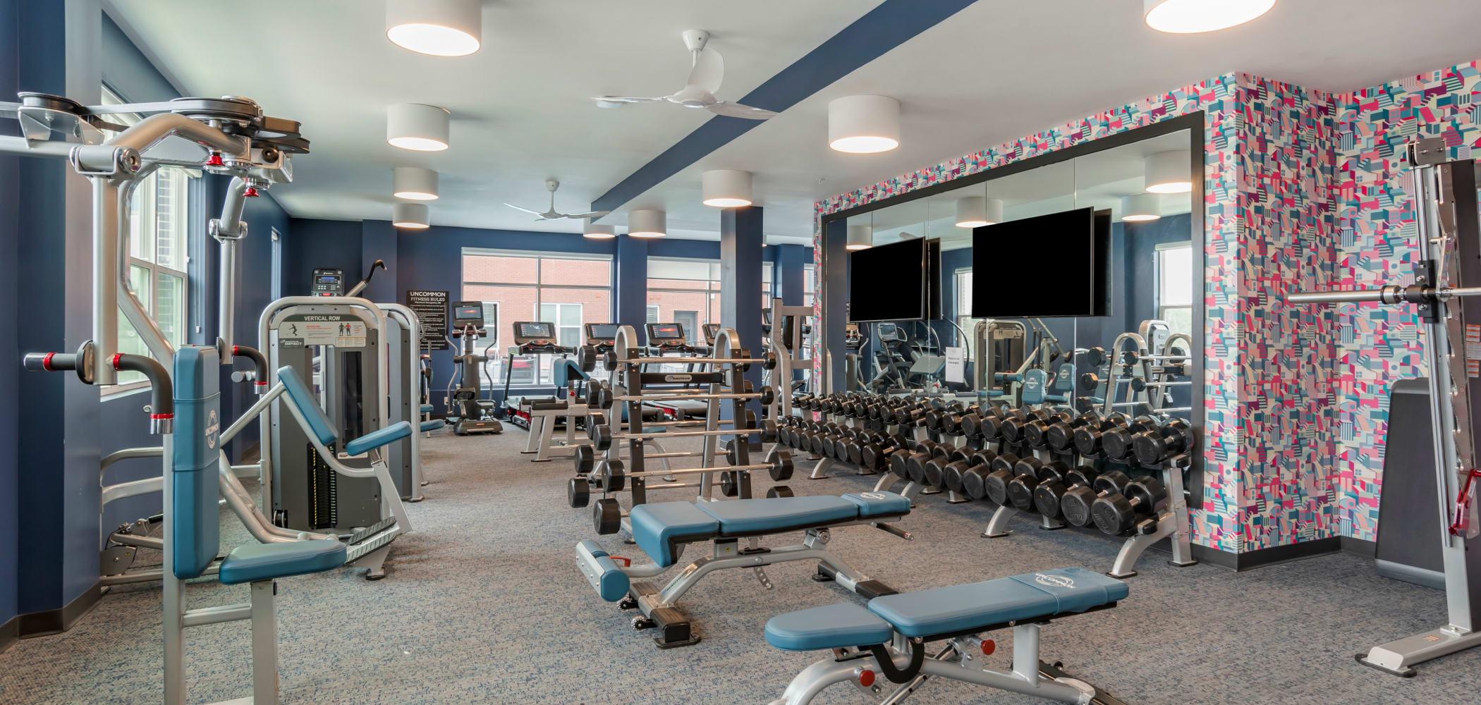 State of the art fitness center at UNCOMMON Auburn in Auburn, Alabama