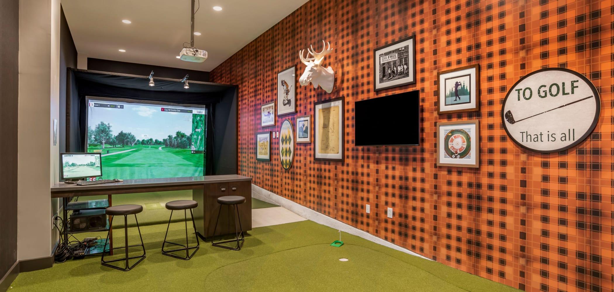 Golf simulation at UNCOMMON Auburn in Auburn, Alabama
