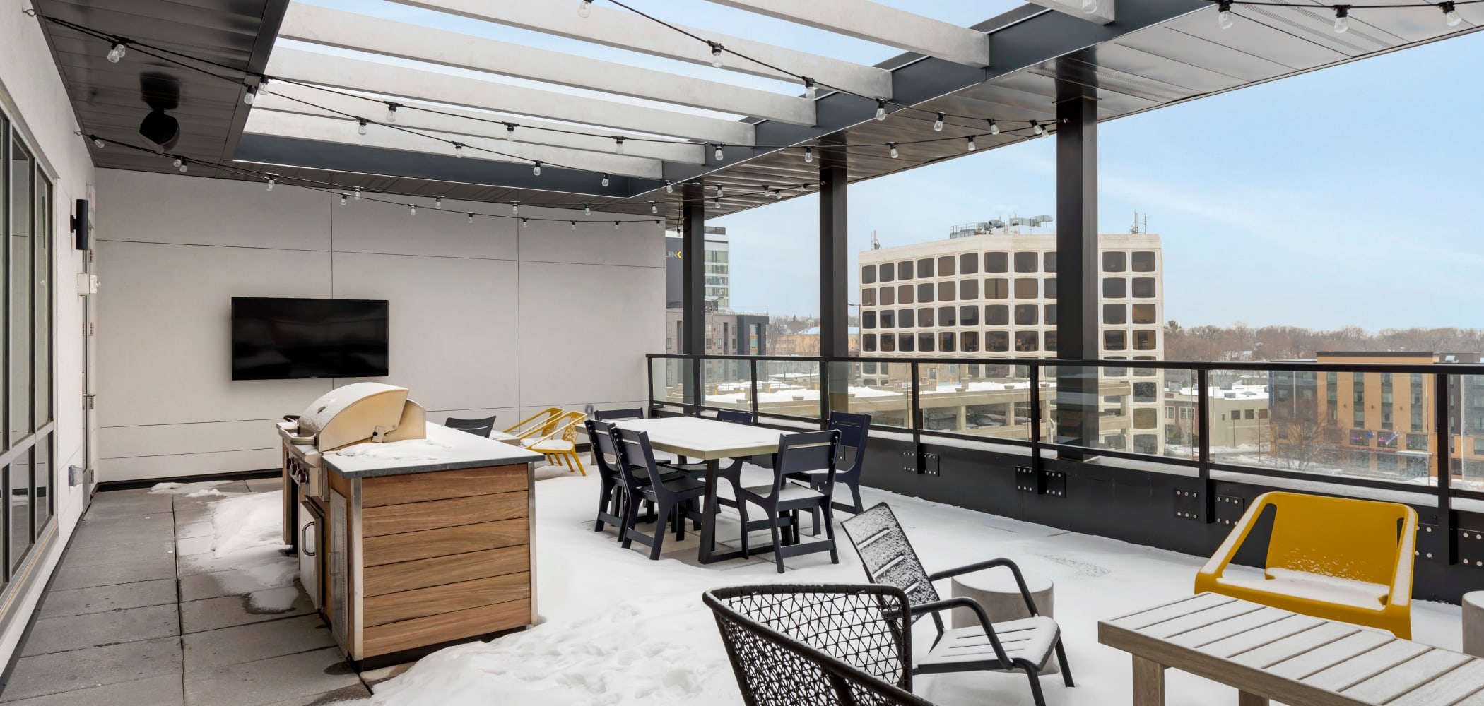 Relaxing patio area for the residents at HERE Minneapolis in Minneapolis, Minnesota