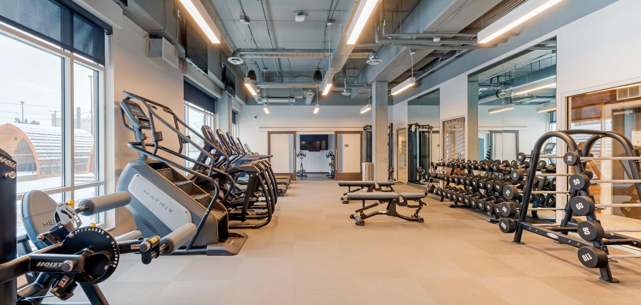 Fitness center at HERE Minneapolis in Minneapolis, Minnesota
