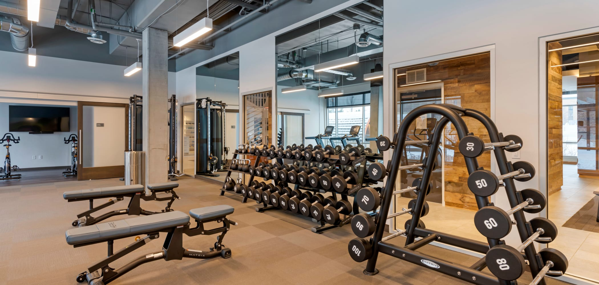 State of the art gym at HERE Minneapolis in Minneapolis, Minnesota
