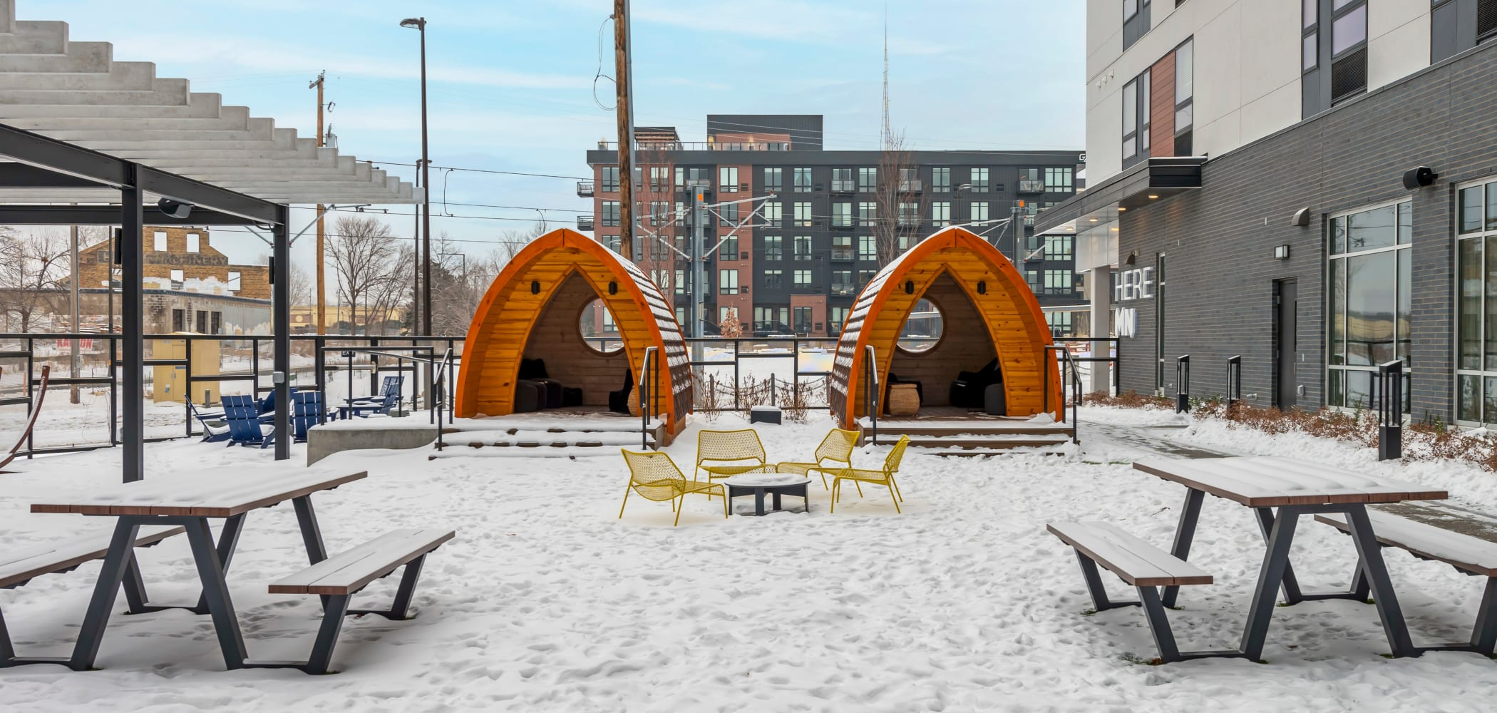 Outdoor relaxation and study area at HERE Minneapolis in Minneapolis, Minnesota