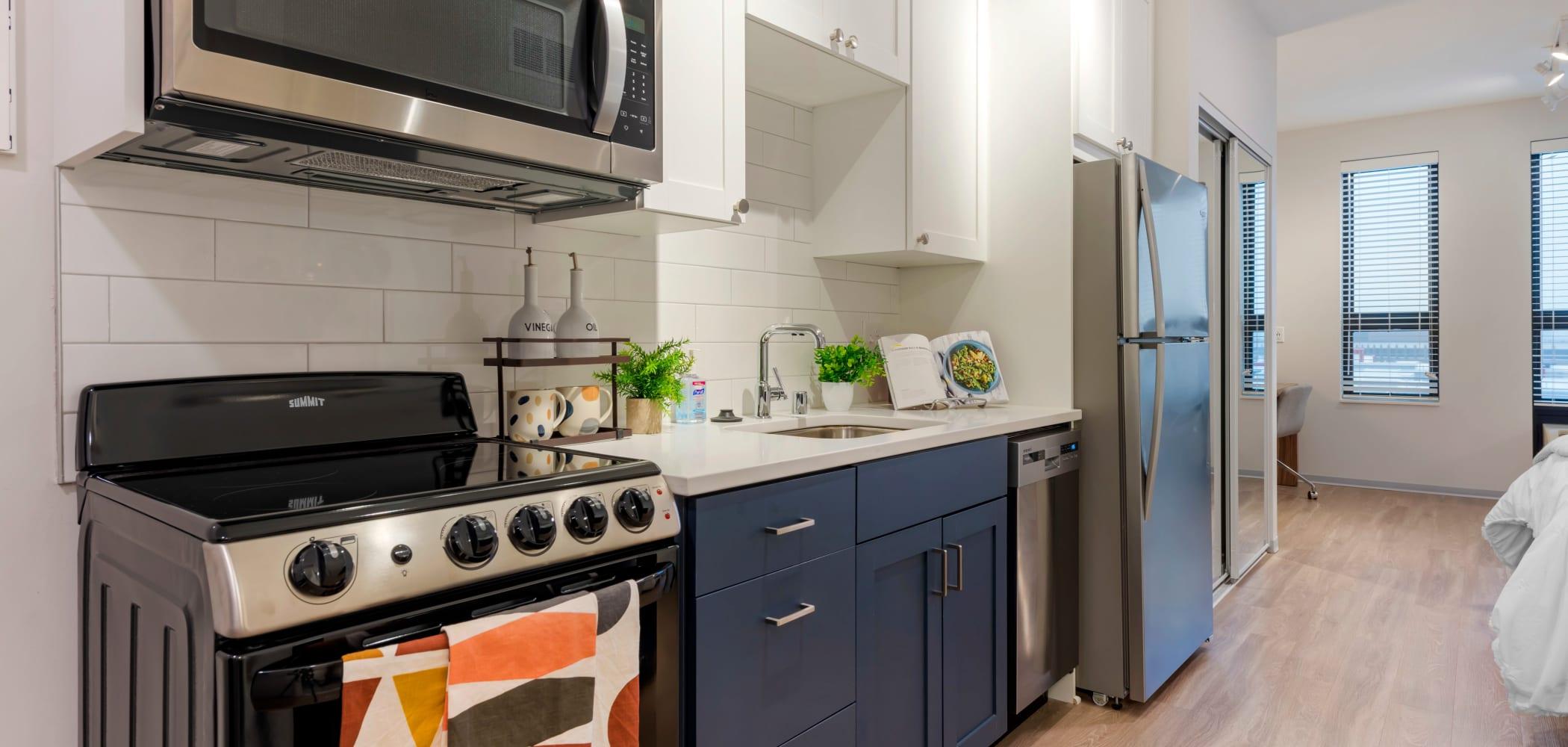 Stainless steel kitchen at HERE Minneapolis in Minneapolis, Minnesota
