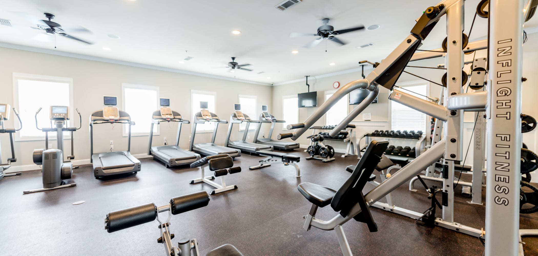 Full gym with tons of equipment to use at Ikon Athens in Athens, Georgia