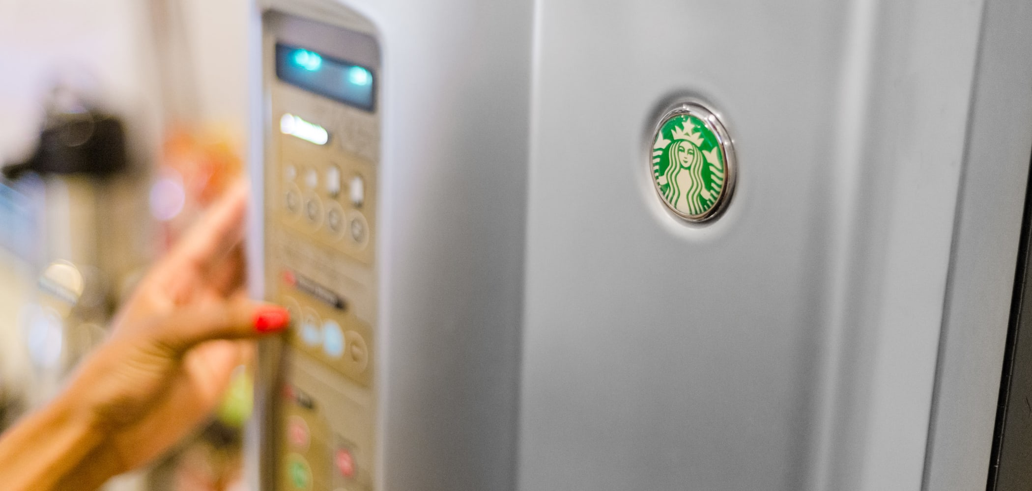 Starbucks coffee machine for students in common area at Ikon Athens in Athens, Georgia