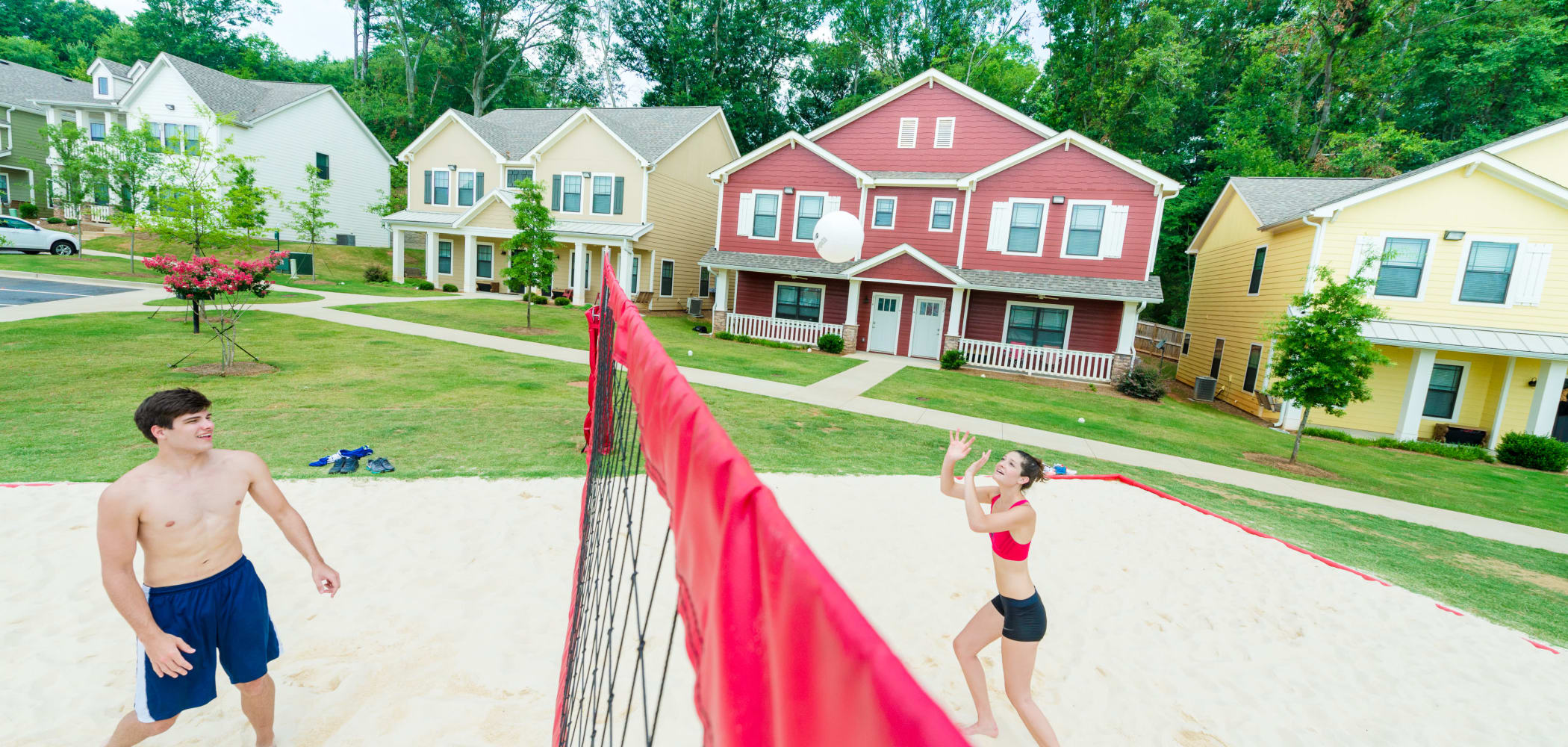 Outdoor sand volleyball court at Ikon Athens in Athens, Georgia