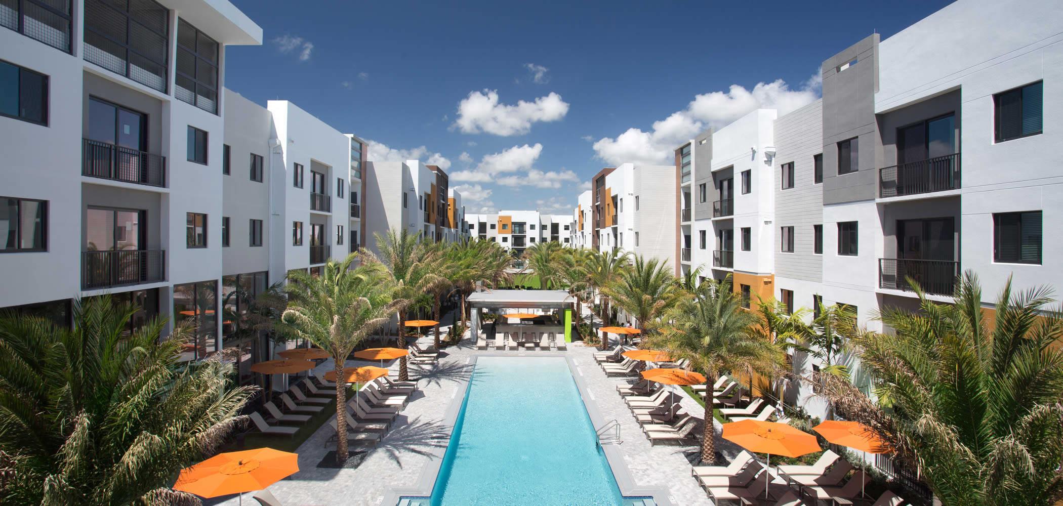 Amazing resort style swimming pool at University Park in Boca Raton, Florida