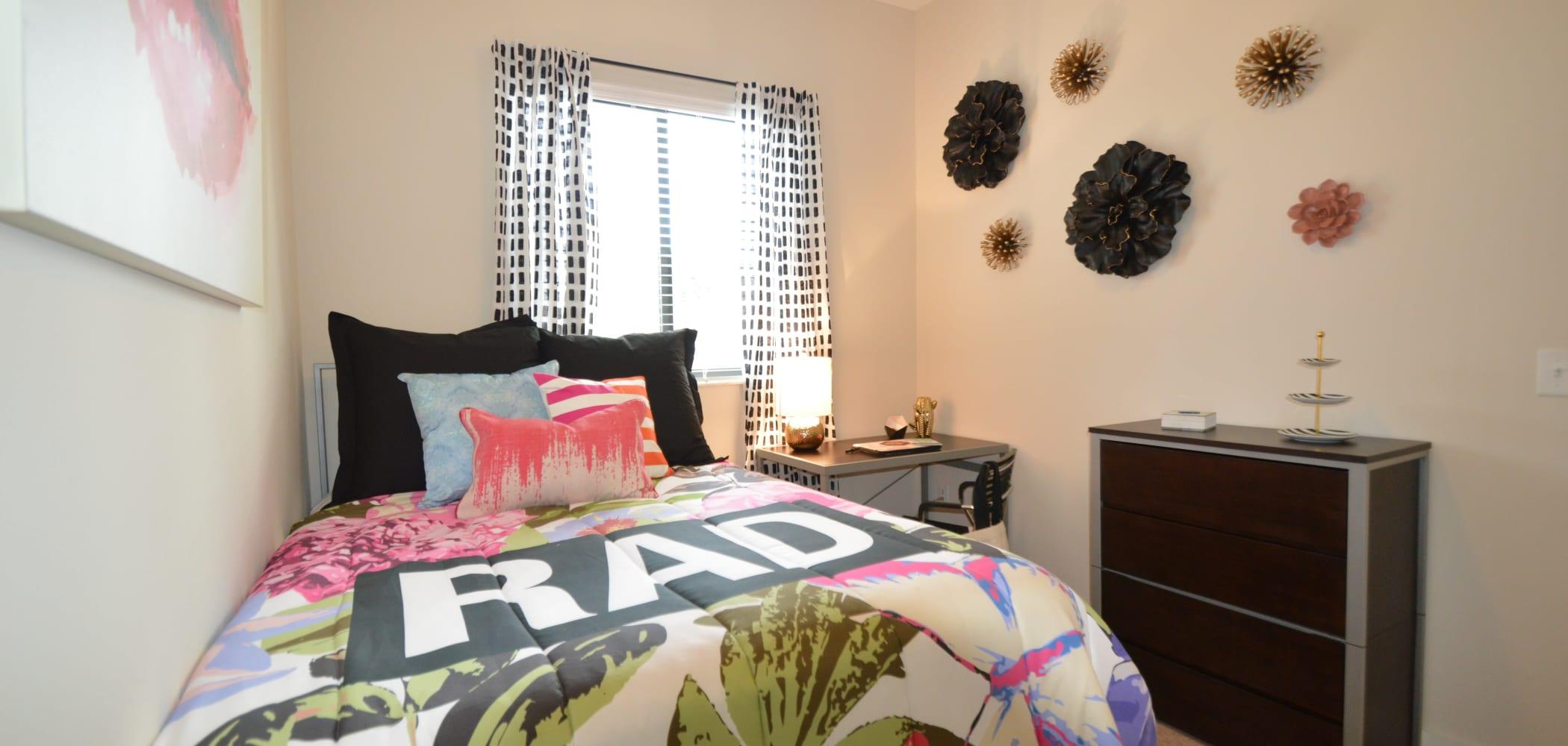 Cute bedroom set up at University Park in Boca Raton, Florida