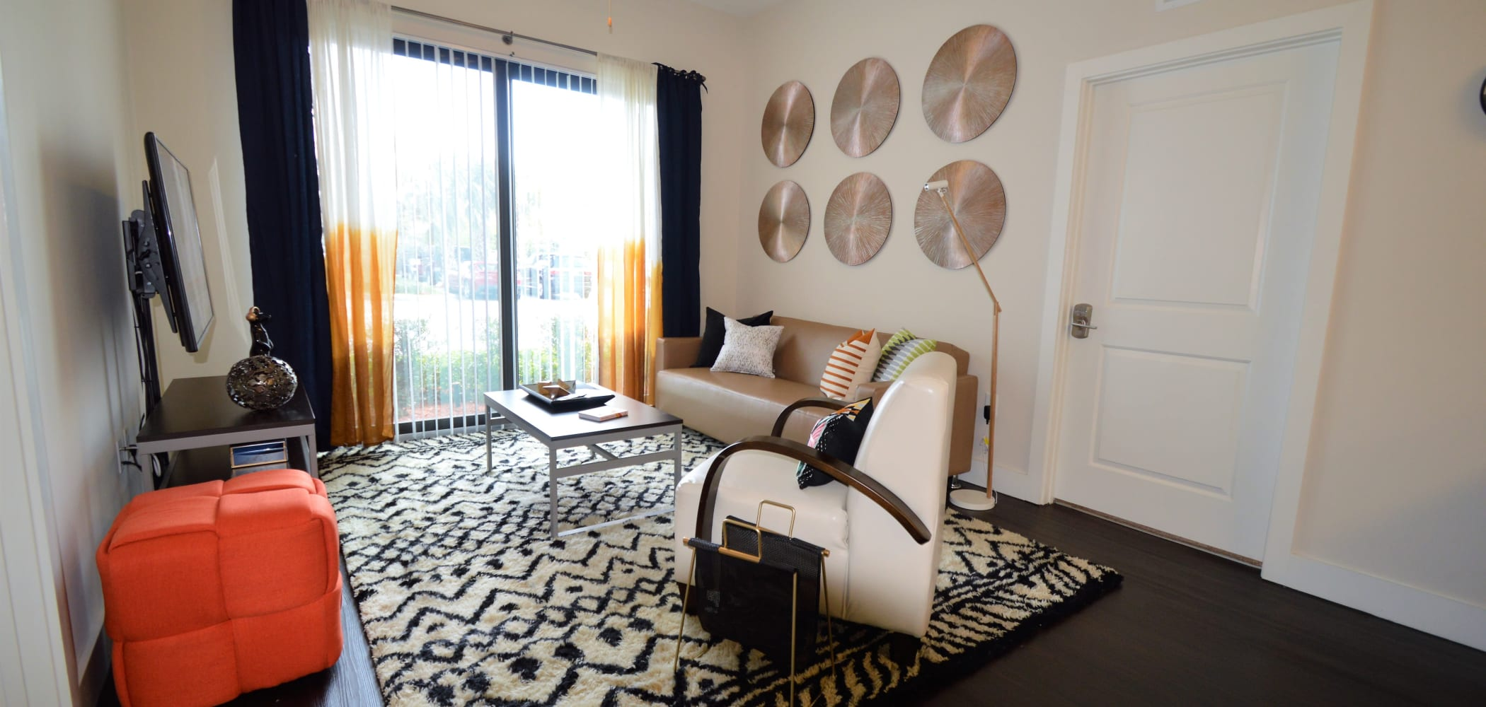 Spacious living room with tons of natural light at University Park in Boca Raton, Florida