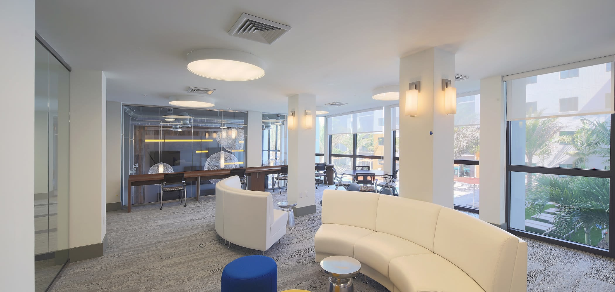 Lounge area for students to read or study at University Park in Boca Raton, Florida
