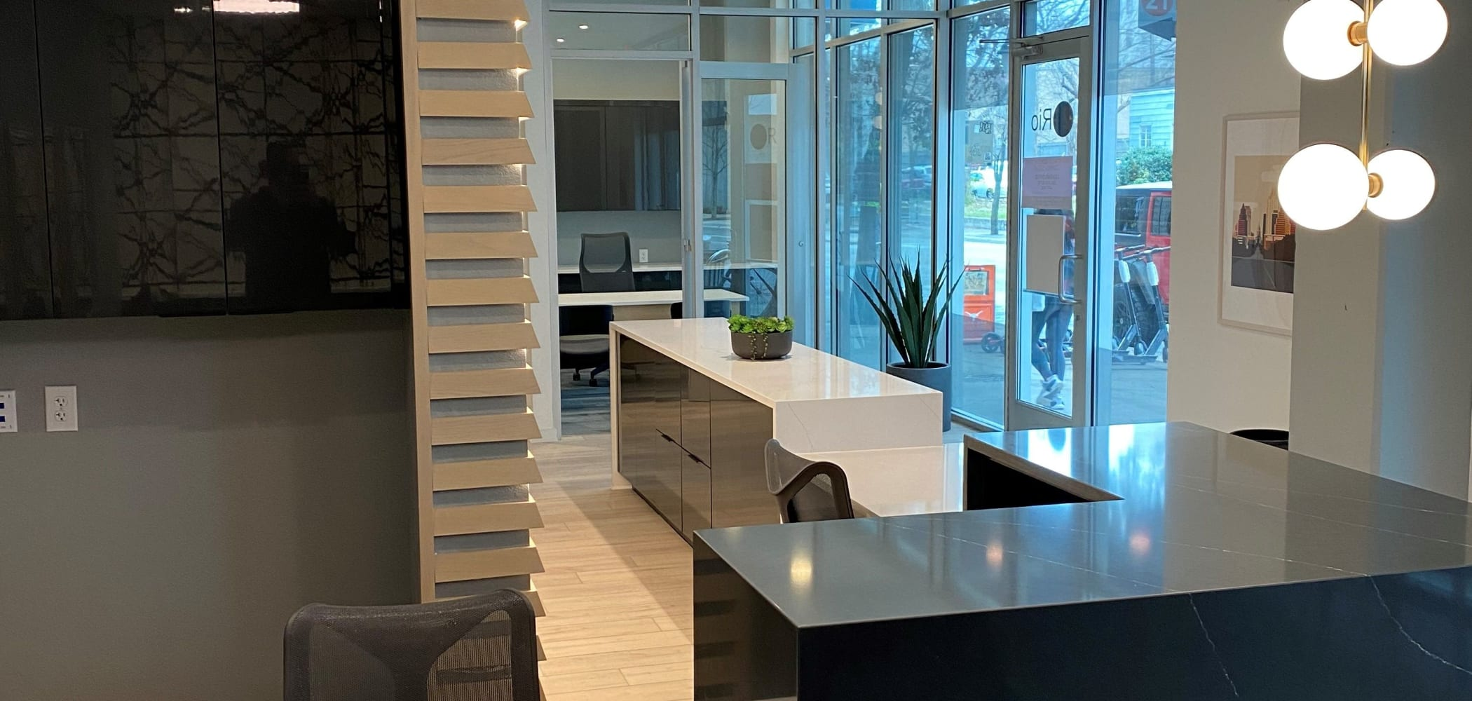 Office area at 21 Rio in Austin, Texas