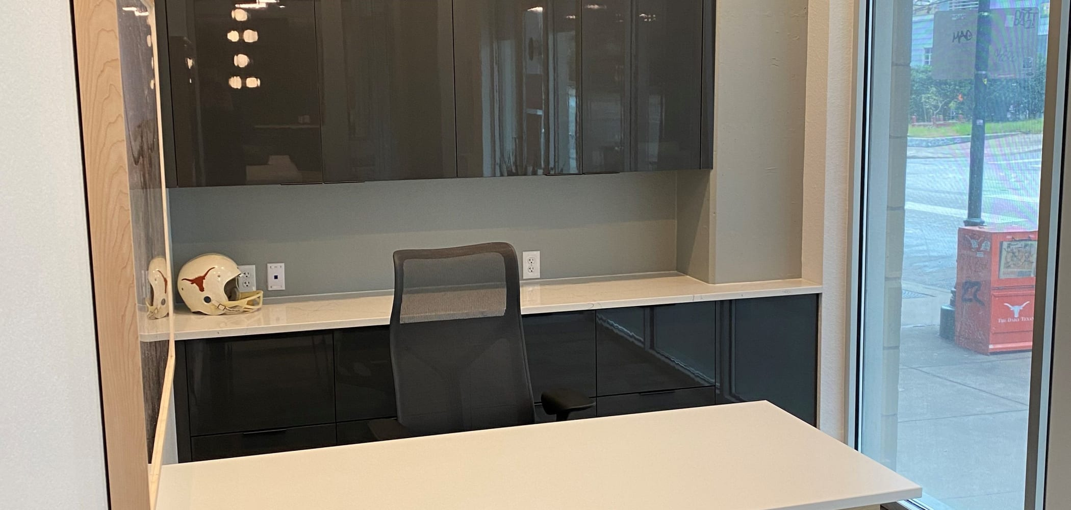 An office room at 21 Rio in Austin, Texas