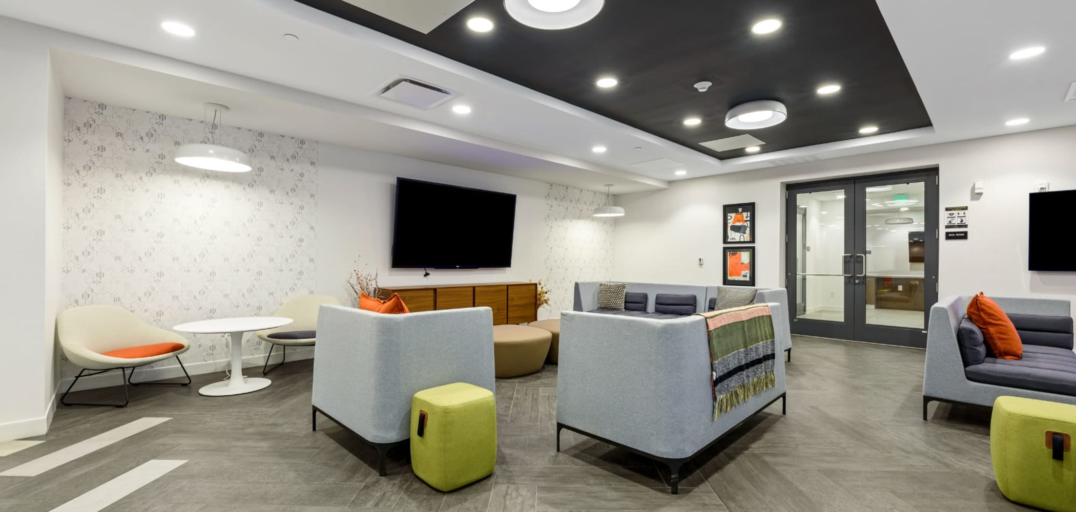 Clubhouse area with huge tv at The View on Pavey Square in Columbus, Ohio