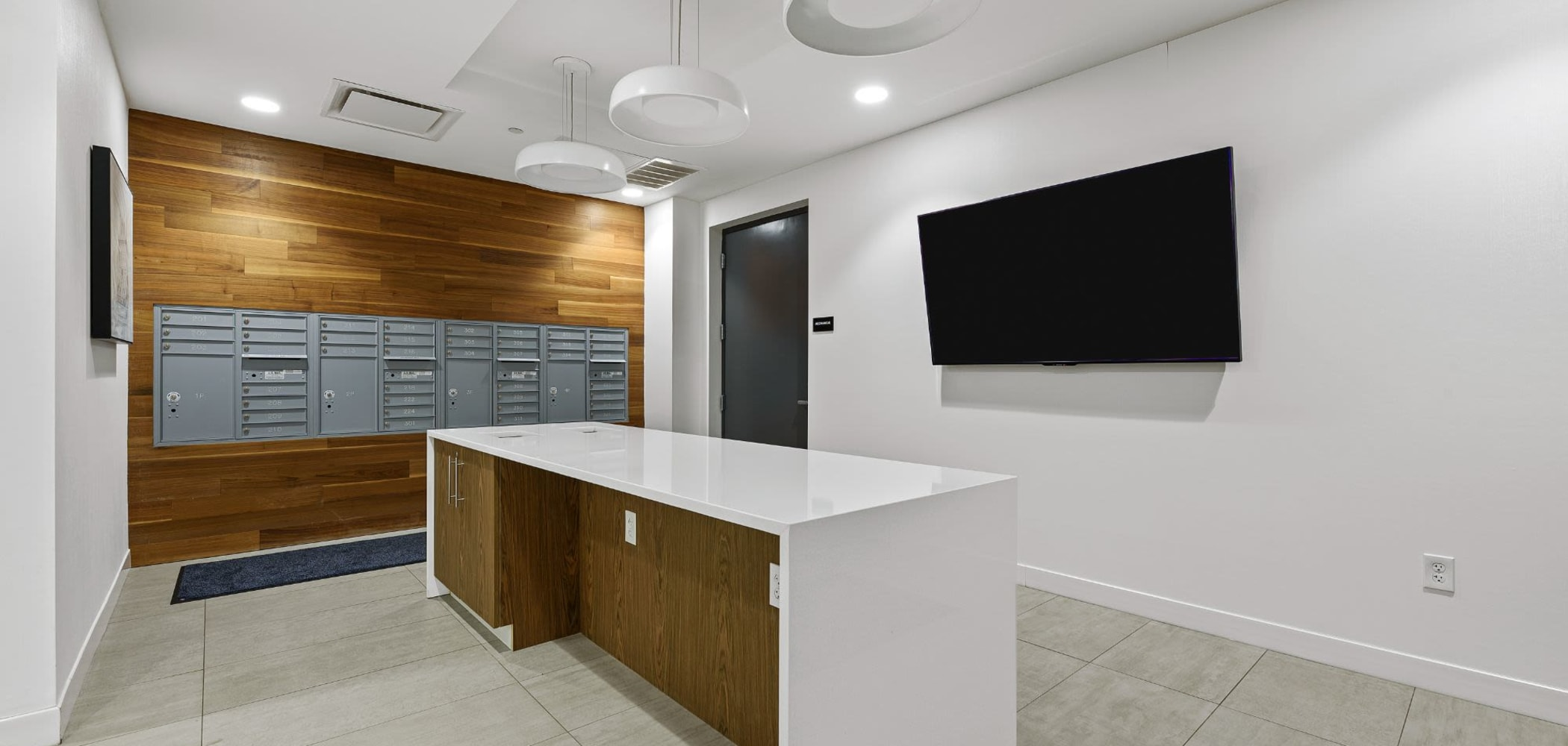Mail lockers for residents at The View on Pavey Square in Columbus, Ohio