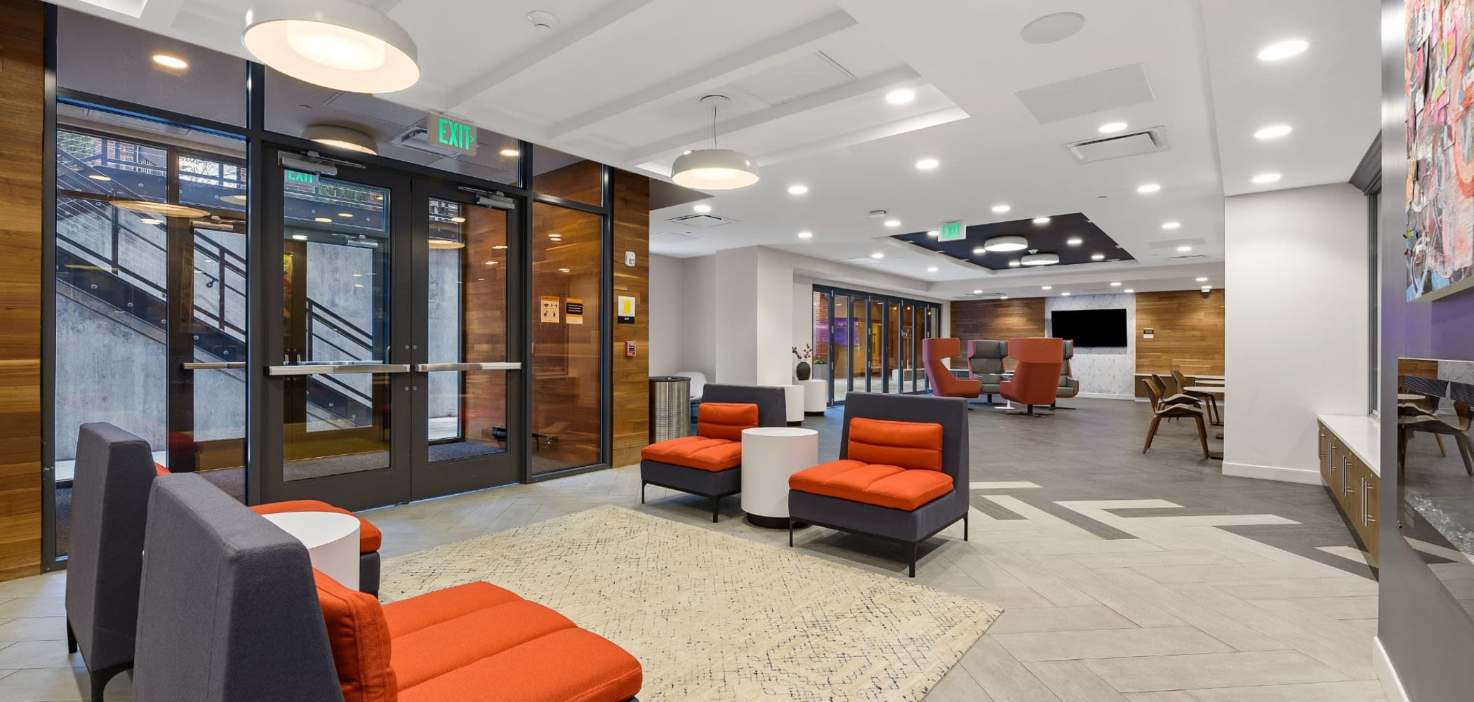 Lobby area where you can study or relax at The View on Pavey Square in Columbus, Ohio
