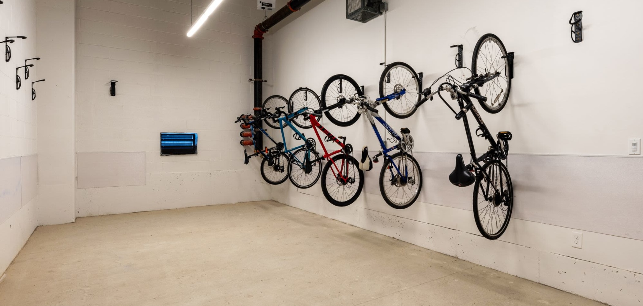 Storage area for bikes in the garage at The View on Pavey Square in Columbus, Ohio