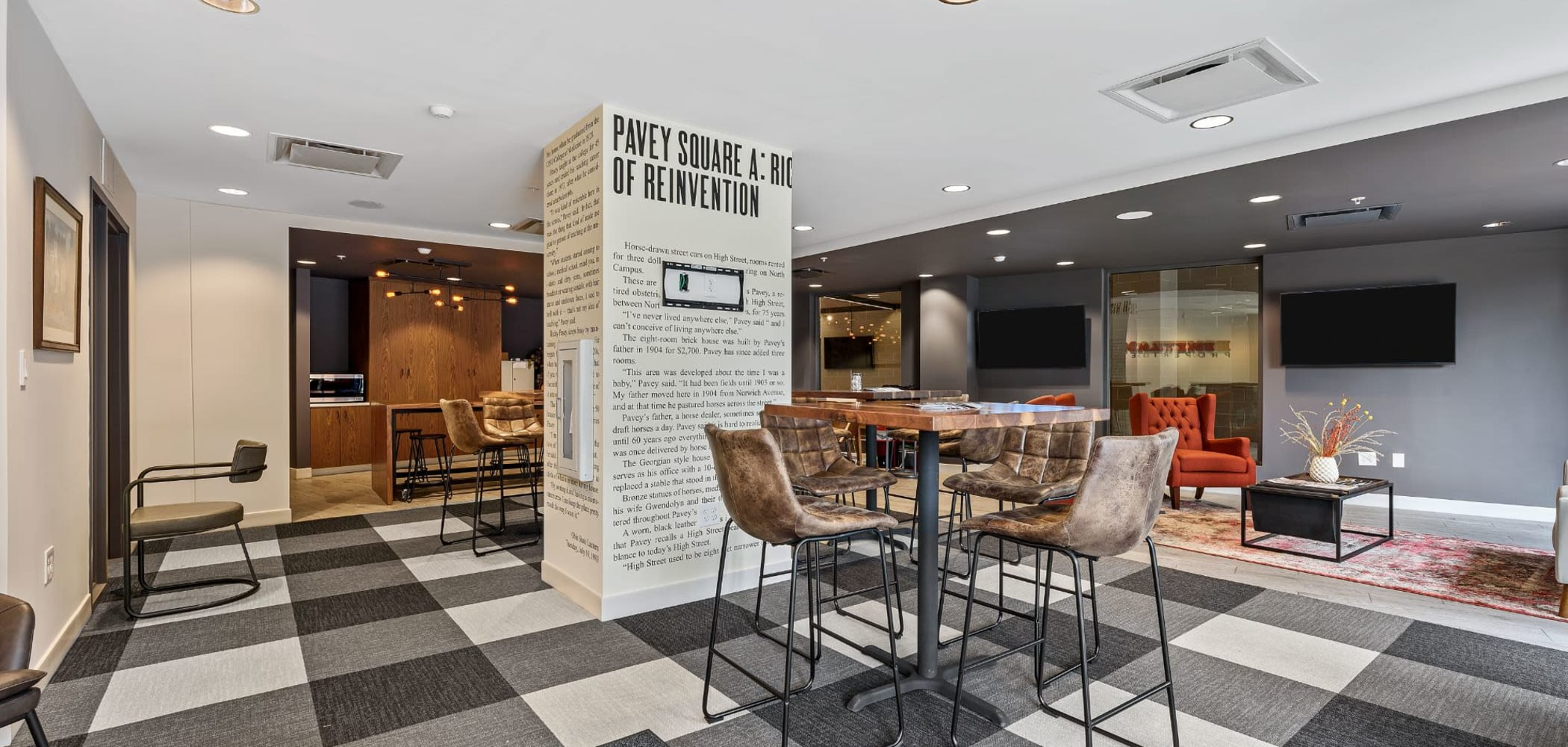 Cool rustic style area to hang out in with a tv at The View on Pavey Square in Columbus, Ohio