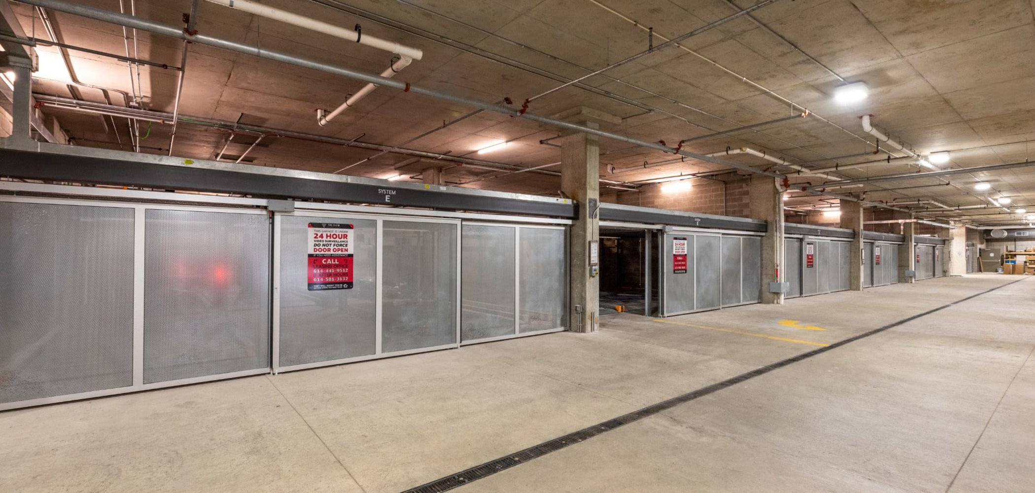 Indoor parking garage area at The View on Pavey Square in Columbus, Ohio