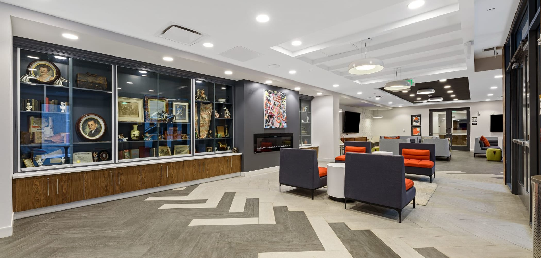Lounge area for students to work, study, or hang out in at The View on Pavey Square in Columbus, Ohio