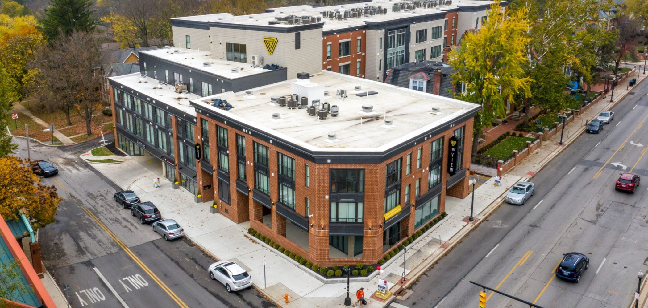 View from the sky of the exterior building at The View on Pavey Square in Columbus, Ohio
