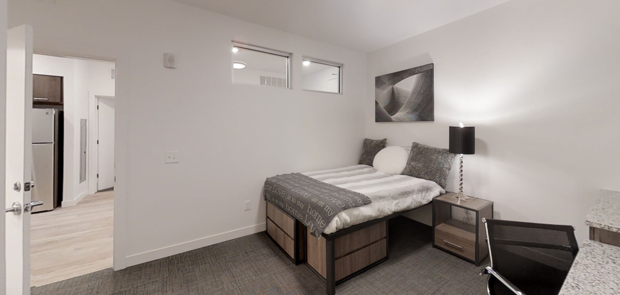 Very spacious bedroom with lots of storage under the bed at The View on Pavey Square in Columbus, Ohio