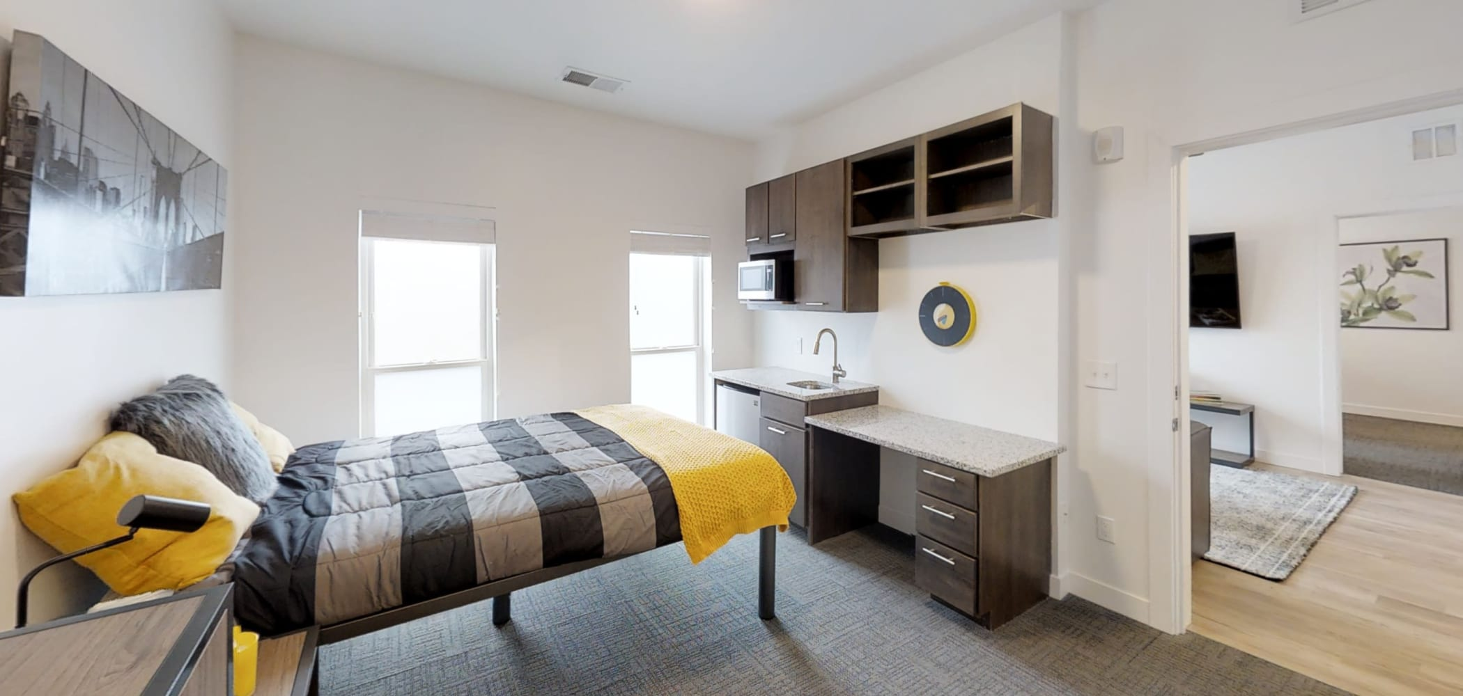 Tons of extra space to relax and study in the bedroom at The View on Pavey Square in Columbus, Ohio