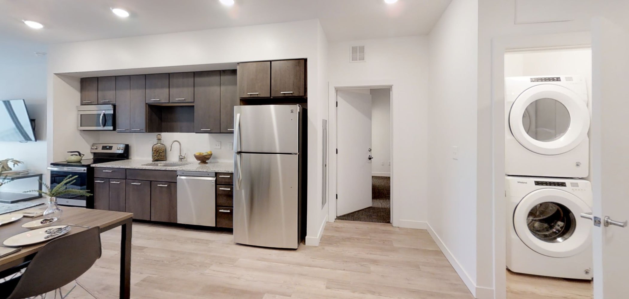 Washer and dryer in home for easy access at The View on Pavey Square in Columbus, Ohio