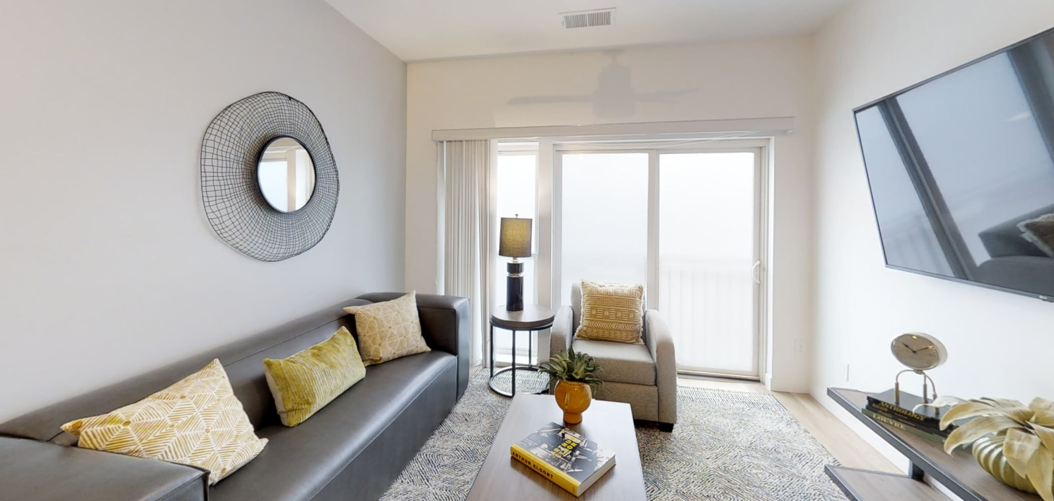 Very bright and spacious living room at The View on Pavey Square in Columbus, Ohio