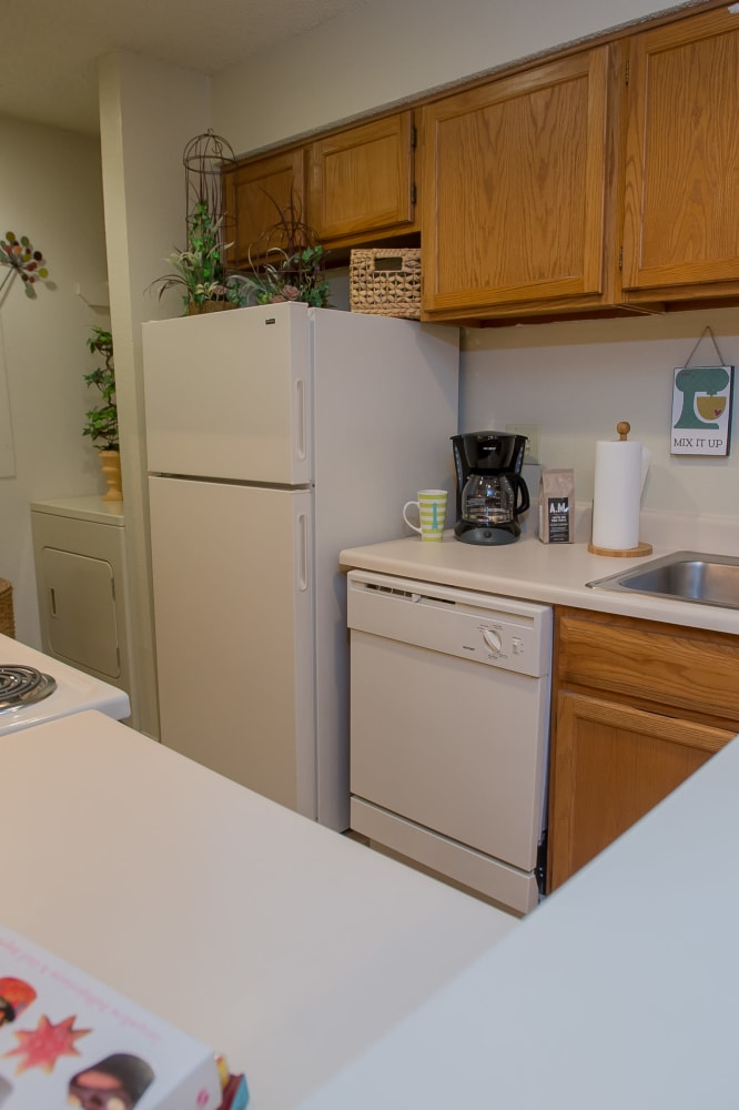 Bright kitchen at Polo Run Apartments in Tulsa, Oklahoma
