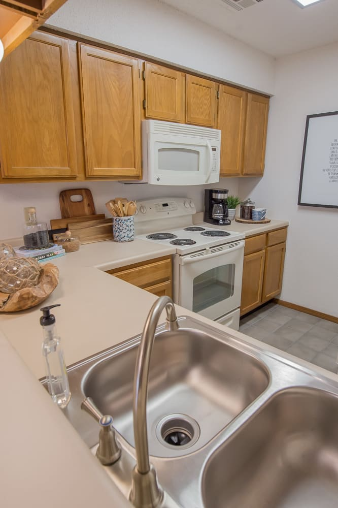 Bright kitchen at Warrington Apartments in Oklahoma City, Oklahoma