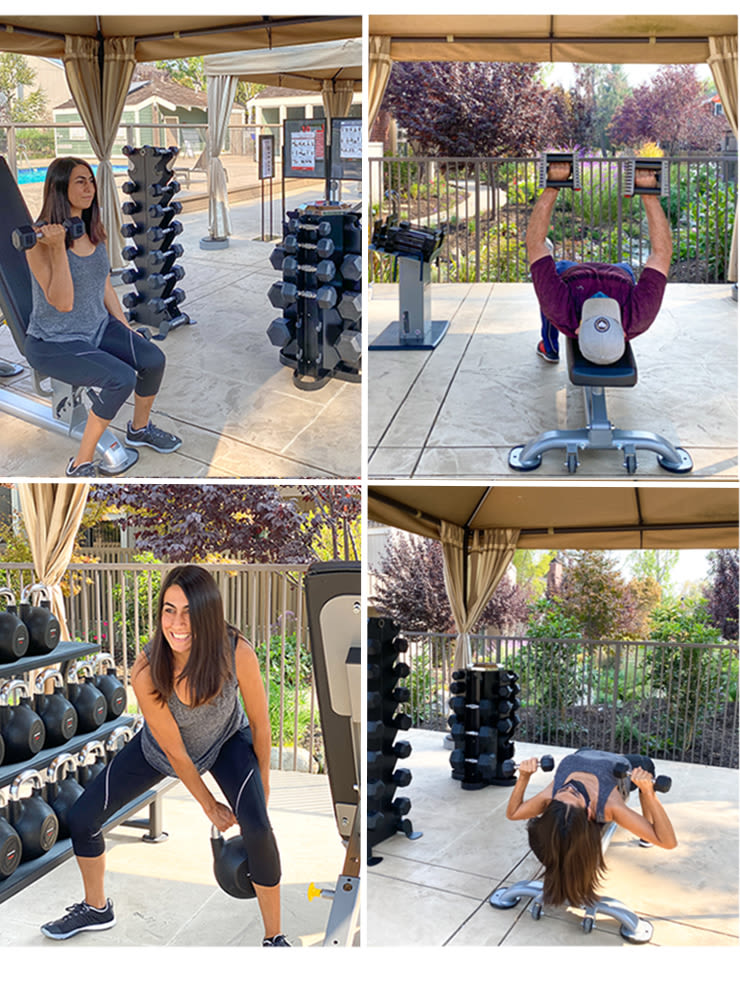 Residents working out at Glenbrook Apartments in Cupertino, California