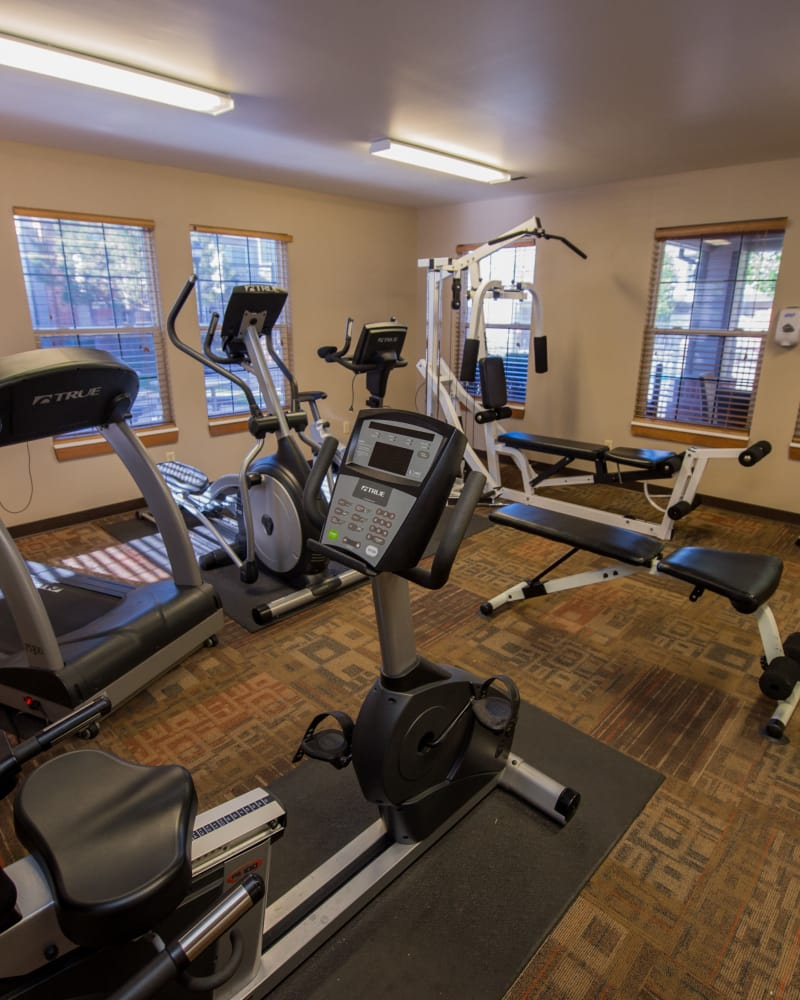 Fitness center at Huntington Park Apartments in Wichita, Kansas