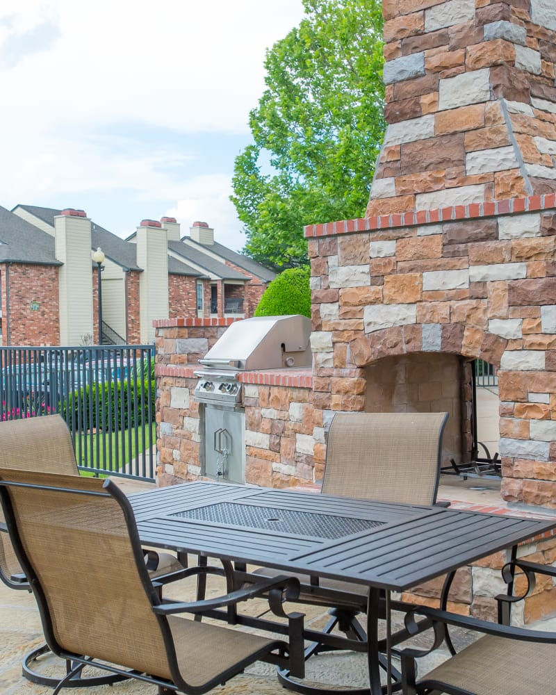 Outdoor patio at Warrington Apartments in Oklahoma City, Oklahoma