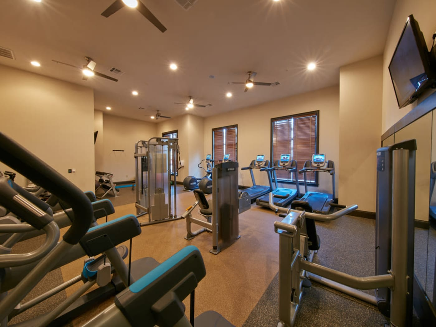 Fitness room at Trifecta Apartments in Louisville, Kentucky.