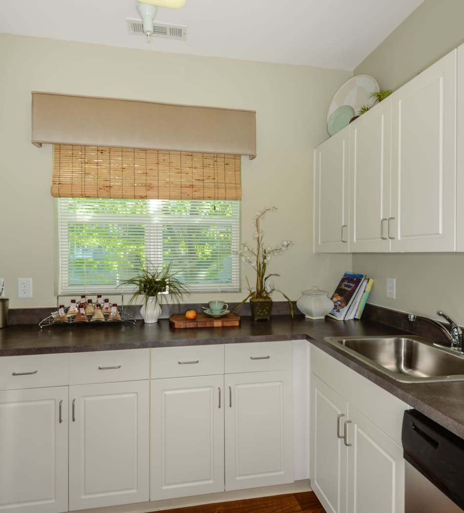 Bright kitchen with modern stainless steel appliances at Sofi Danvers in Danvers, Massachusetts