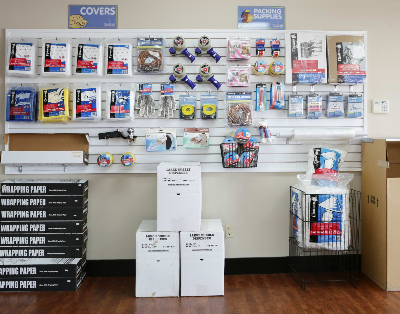 Wall of supplies for sale at StoreSmart Self-Storage in Fayetteville, North Carolina