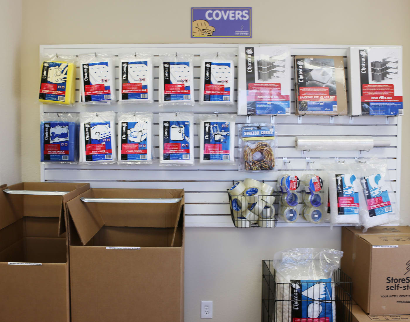 Packing and moving supplies for sale at StoreSmart Self-Storage in Rockledge, Florida