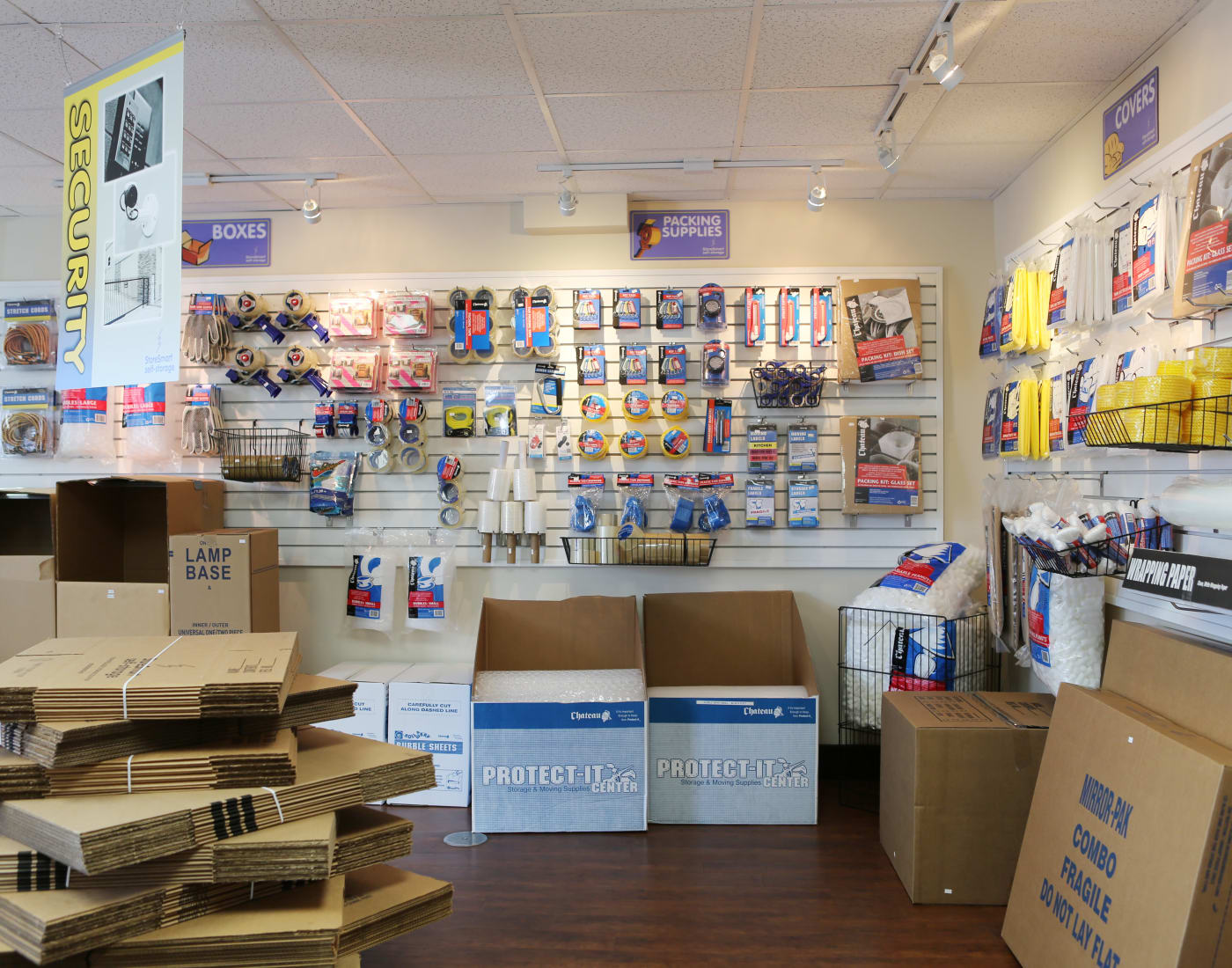 Packing and moving supplies for sale at Midgard Self Storage in Lutz, Florida