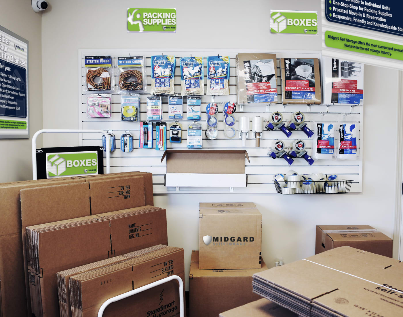 Packing and moving supplies for sale at Midgard Self Storage in Melbourne, Florida