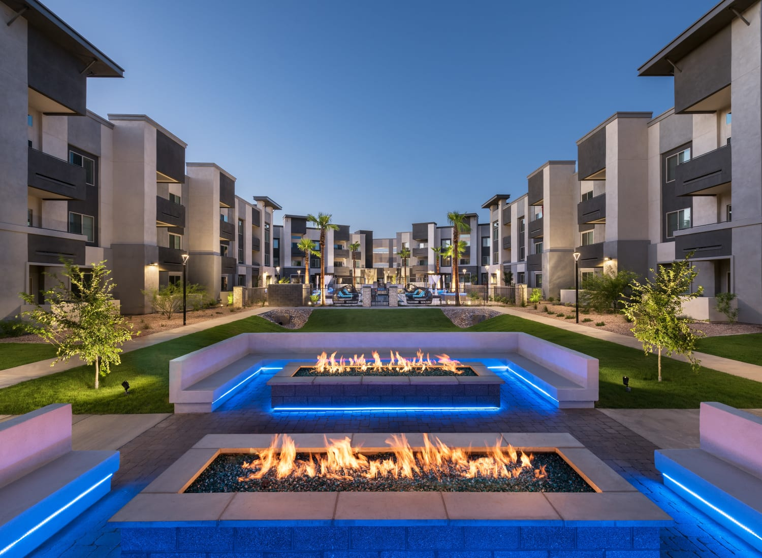 Fire pit area at Aviva in Mesa, Arizona
