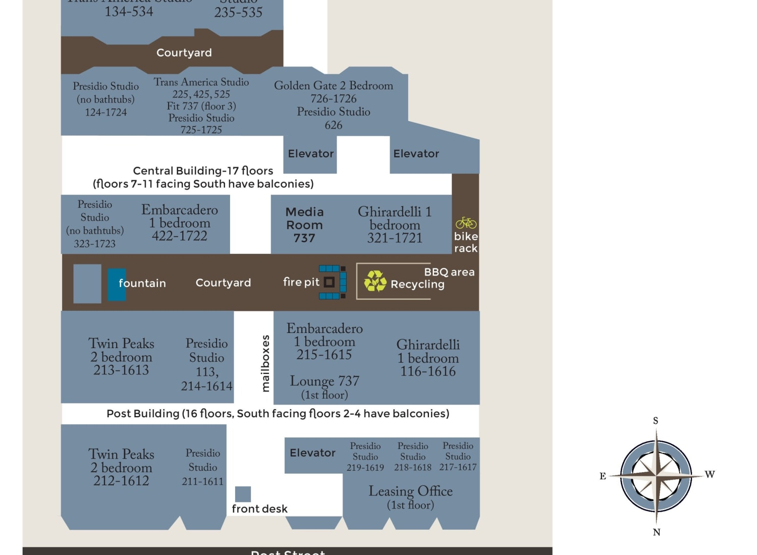 Community map of Tower 737 Condominium Rentals