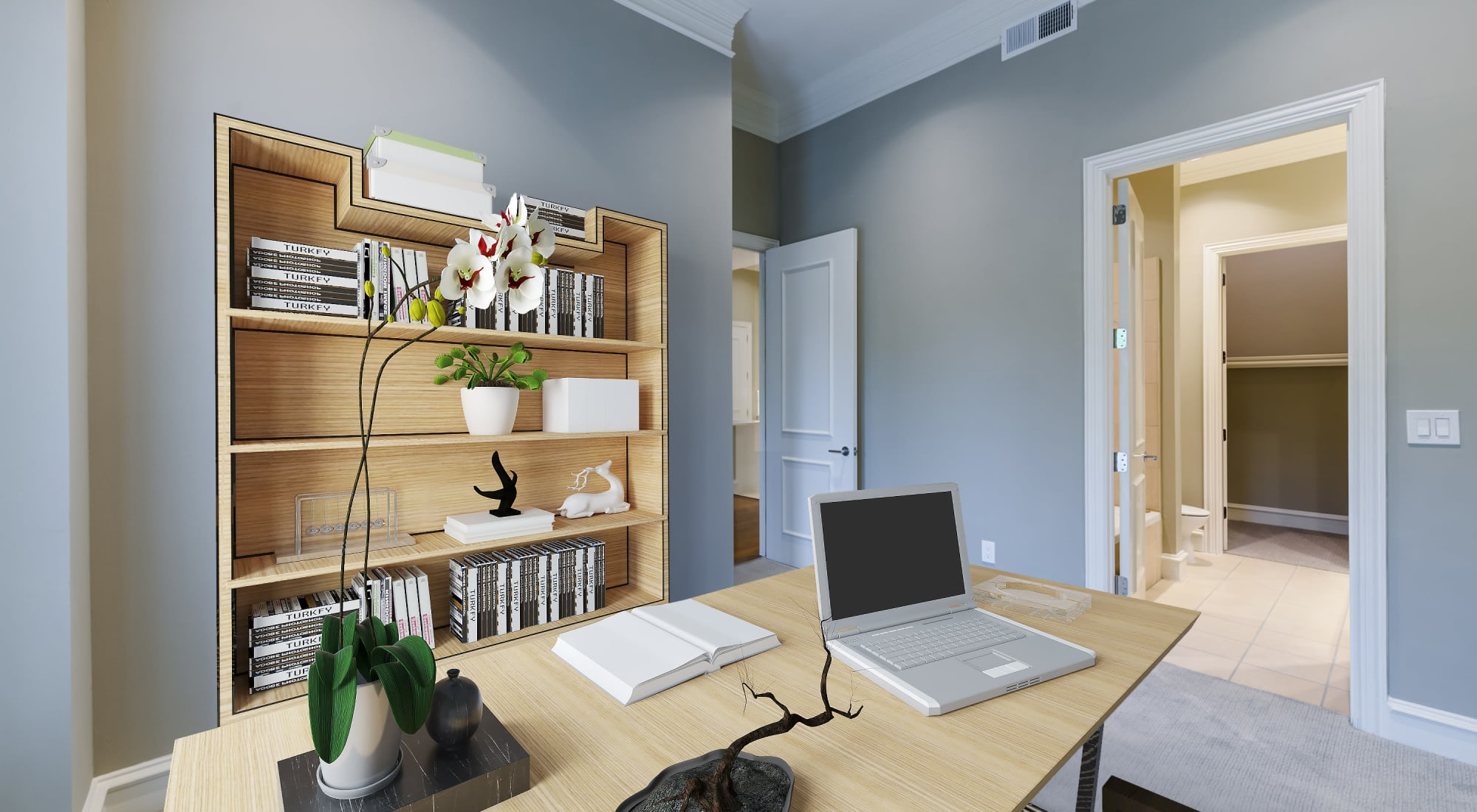 Spacious office with desk at Rienzi at Turtle Creek Apartments