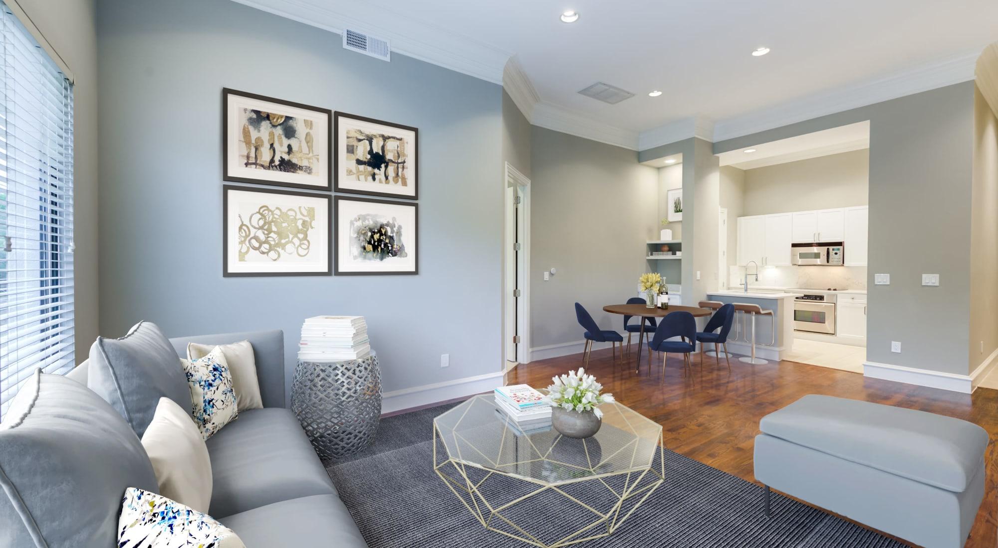 Interior living room of unit at Rienzi at Turtle Creek Apartments