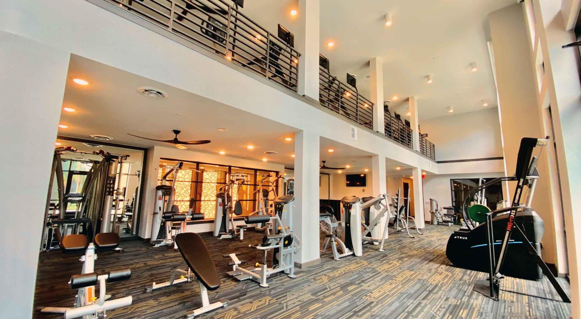 Two Story Fitness Center at Fusion apartments in Jacksonville, Florida
