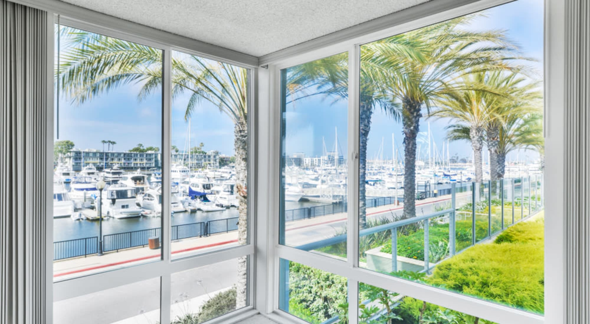 Great views of the marina from a model luxury home at Waters Edge at Marina Harbor in Marina Del Rey, California